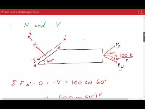 Average Normal Stress and Shear Stress on Inclined Plane, Mechanics of Materials Stress Example 2