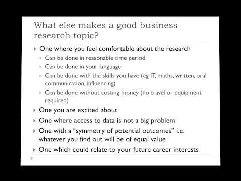What makes a good business research topic?