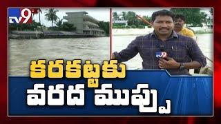 Record level flood water reaches Prakasam barrage - TV9