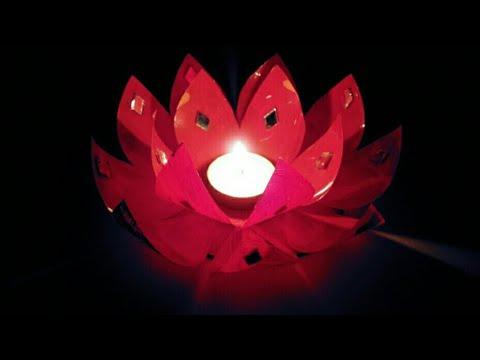 Diya Decoration Idea/ how to decorate diwali candle from plastic bottle/ diwali decoration ideas