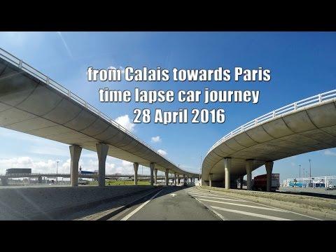 gopro time lapse car journey Market Harborough England - Beziers France 2 Calais ferry 28 April 2016