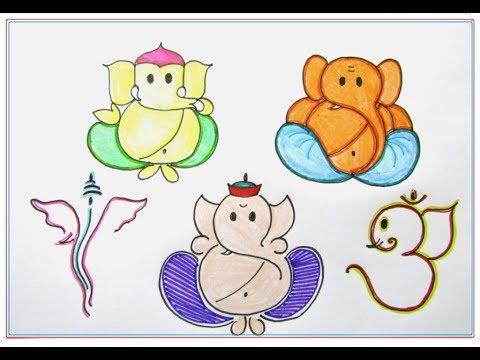 DIY How to draw Ganesha - 5 Easy n Simple ways | GANAPATI BAPPA MORAYA 🙏