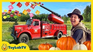GIANT CANDY CANNON! Halloween Pumpkin Patch Trick-or-Treat Kids Activities & Surprise Toys Video