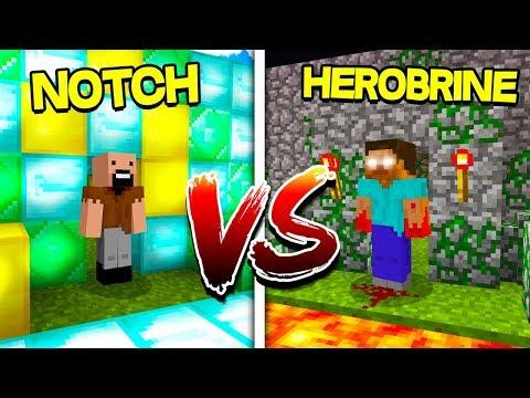 NOTCH HOUSE VS HEROBRINE HOUSE in Minecraft!