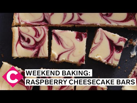 Raspberry swirl cheesecake bars | Weekend Baking