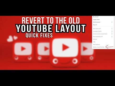 NO YOUTUBE LAYOUT RESTORE BUTTON HERE IS THE FIX 2018
