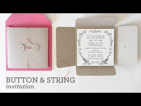DIY Wedding Invitation Pocket with Button & String Closure