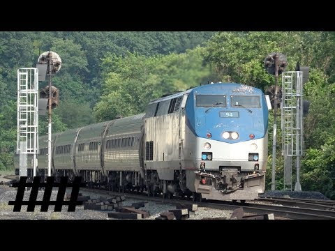 Amtrak Pennsylvanian 43 P42DC 94 Stops at Huntingdon Train Station in Huntingdon, PA