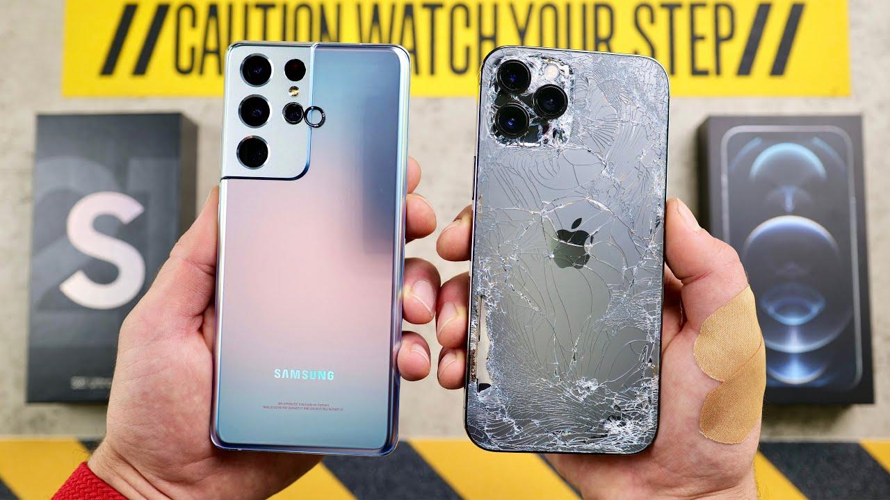 Galaxy S21 Ultra vs iPhone 12 Pro Max Drop Test!