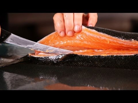 How to Cut Salmon into 2 Fillets | Fish Filleting