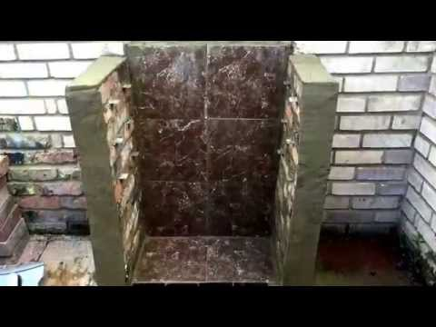 Barbecue grill with bricks
