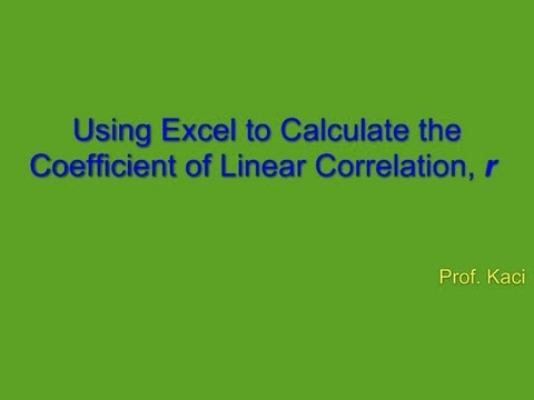 Statistics: Using Excel to find the Correlation Coefficient r