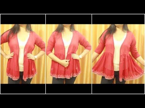 Convert Old Dupatta Into Designer Jacket | Small Jacket For Kurties