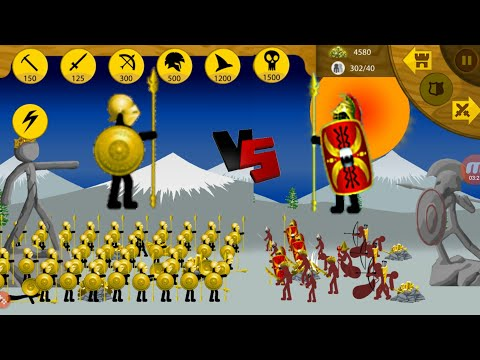 100 Golden Speartons VS Ice Hills | Insane MODE Campaign | Stick war Legacy