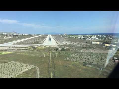 Landing at Santorini airport - Cockpit view