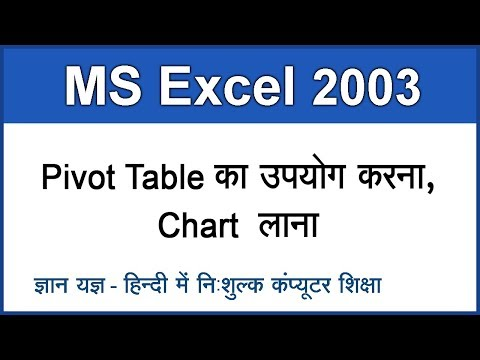 MS Excel 2003 in Hindi / Urdu : Inserting Pivot Table & Chart - 10