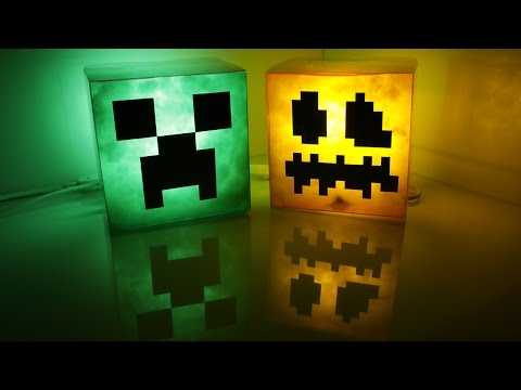 DIY Minecraft lamp_ creeper and pumpkin jack-o'-lantern(Happy Halloween)