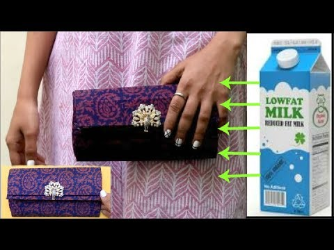 CLUTCH PURSE MADE FROM MILK CARTON | Best out of waste