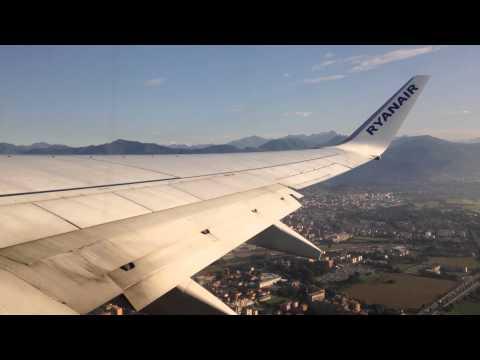 Ryanair B737-800 take-off from Milan Bergamo Orio Al Serio Airport.