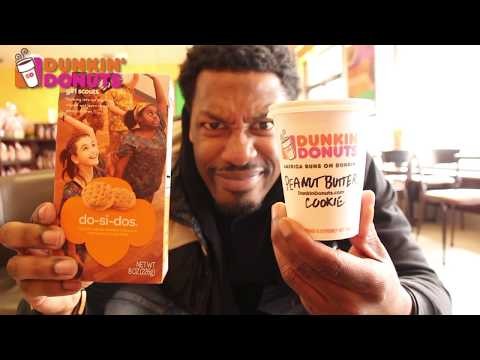 Girl Scout do-si-dos dipped in DUNKIN'DONUTS Peanut Butter Cookie Coffee