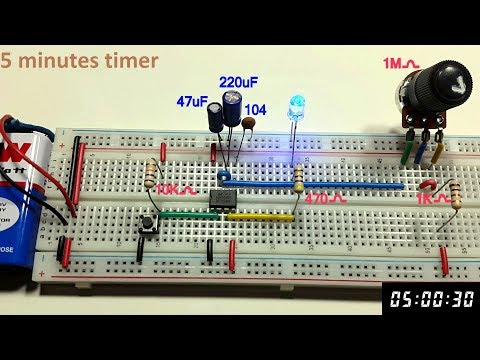 5 minutes Variable Monostable multivibrator using 555 timer in Tamil & English,tamil electronics