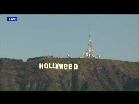 Security Footage Shows Person Altering Hollywood Sign to Read 'Hollyweed'  LAPD   KTLA