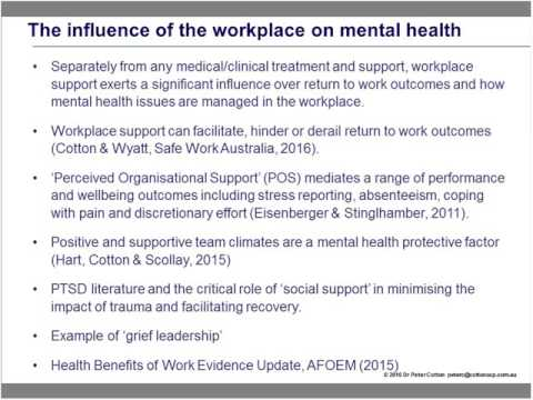 Managing mental health issues in the workplace; an introductory overview for employers
