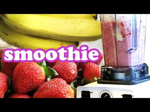 How To Make A Strawberry Banana Smoothie Recipe - Smoothies Challenge Healthy Milkshake Easy Recipes