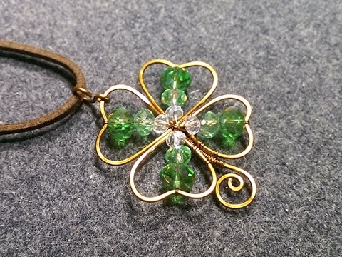 copper wire 4 leaves grass - Clovers pendant - DIY wire jewelry 168