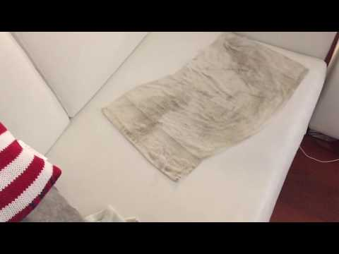 HOW TO CLEAN DARK BLUE STAINS FROM WHITE LEATHER | VINYL COUCHES!!!!!!!!✔🏆