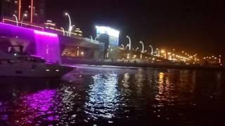 Dubai Water Canal Yacht passing thru the canal