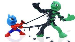 TINY SPIDERMAN MEETS ALIEN IN BLACK COSTUME || CLAY MIXER Cartoons Animation