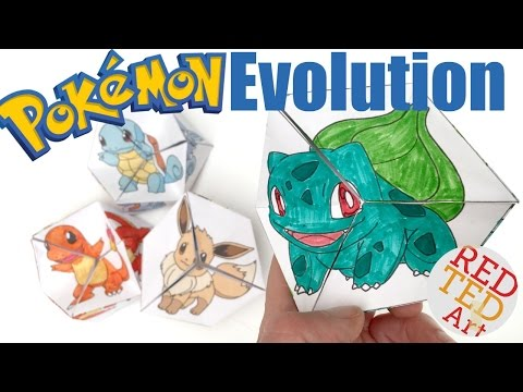 Neverending Pokemon Evolution DIY - Paper Toy & Coloring Page - Kaleidocycle