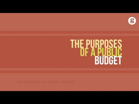 The Purposes of a Public Budget
