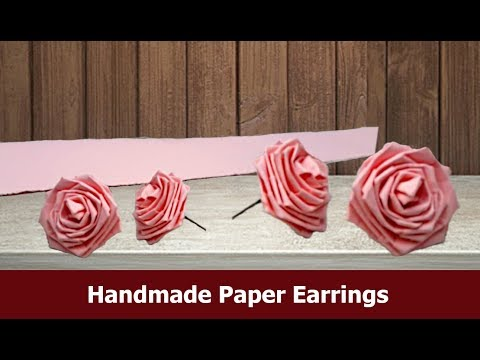 Paper rose earrings