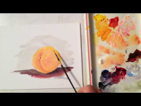 How to paint a Peach (Beginners First Peach Painting lesson)