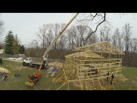 Pole Barn Truss Setting Post Frame Building Ep.6