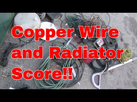Dumpster Diving by Motorcycle - Insulated Copper Wire & Clean Aluminum Radiator Scrap Metal 12-28-16