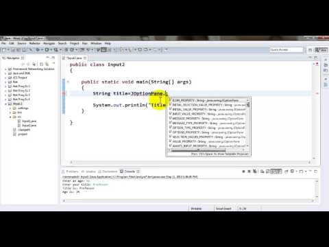 Java Tutorial - Accepting input via GUI Input Dialog