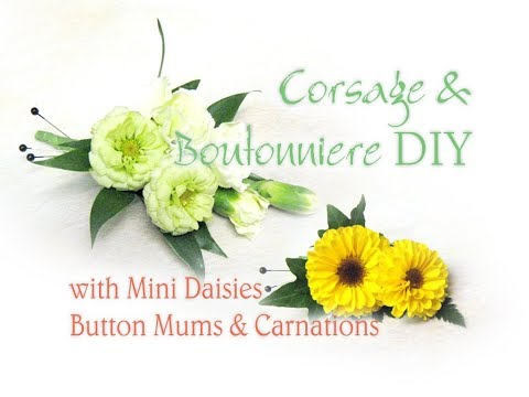Boutonniere / Corsage DIY with Button Mum Daisies / Mini Carnations