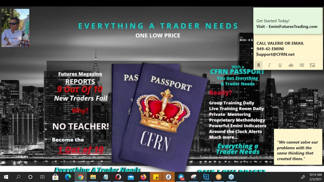 2021-02-03 CFRN Emini Futures & Cryptocurrency Daily News