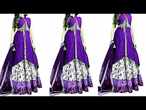 Double layer Designer kurti/ gown cuttting and stitching