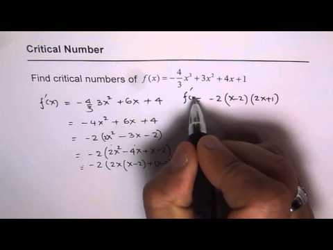 Critical Numbers For Polynomial Function