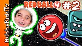 Real Life Red Ball 4! Space Moon Level + Skit, Part 2 - iPad App Video Game Play HobbyKidsTV