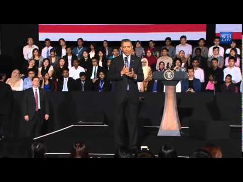 Obama answers first question from Cambodian young lady ....