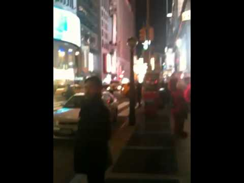 Mark walking from the 42nd St. subway to Times Square