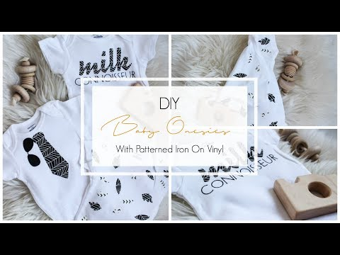 DIY Baby Onesies [with Cricut Patterned Iron On Vinyl]
