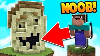 NOOB BUILDS UGLiEST BED DEFENSE! (Minecraft Bed Wars Trolling)