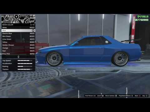 GTA5 ONLINE : BRIAN'S BLUE SKYLINE CUSTOM CAR BUILD  FROM FAST AND THE FURIOUS ON PS4!!!!