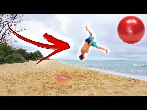 INSANE YOGA BALL FLIPS ON THE BEACH! *HAWAII*